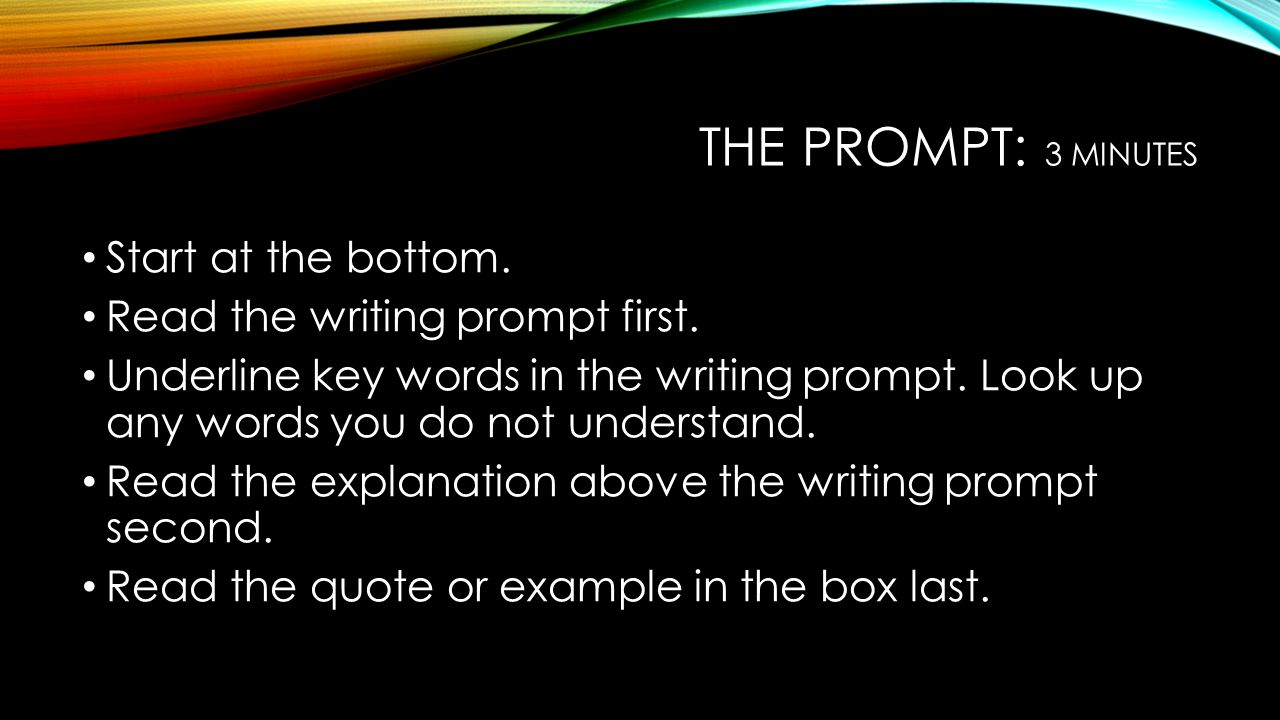 The prompt: 3 minutes Start at the bottom.