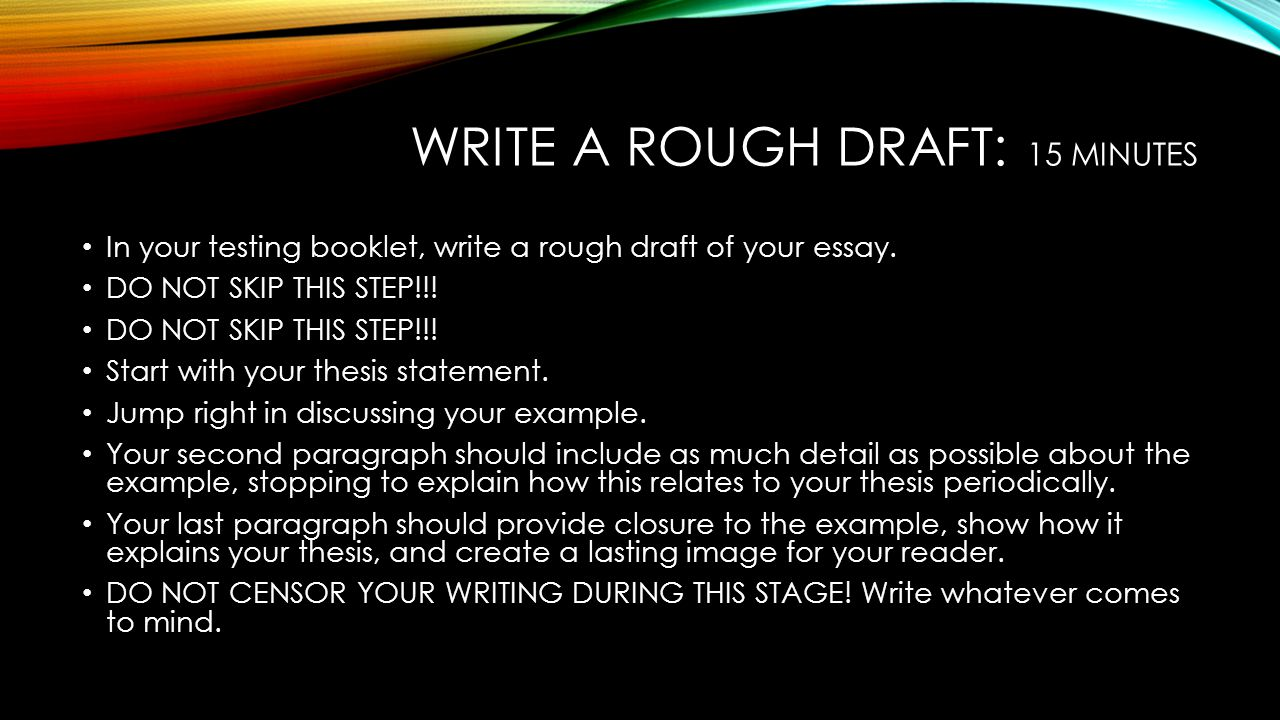 Write a rough draft: 15 minutes