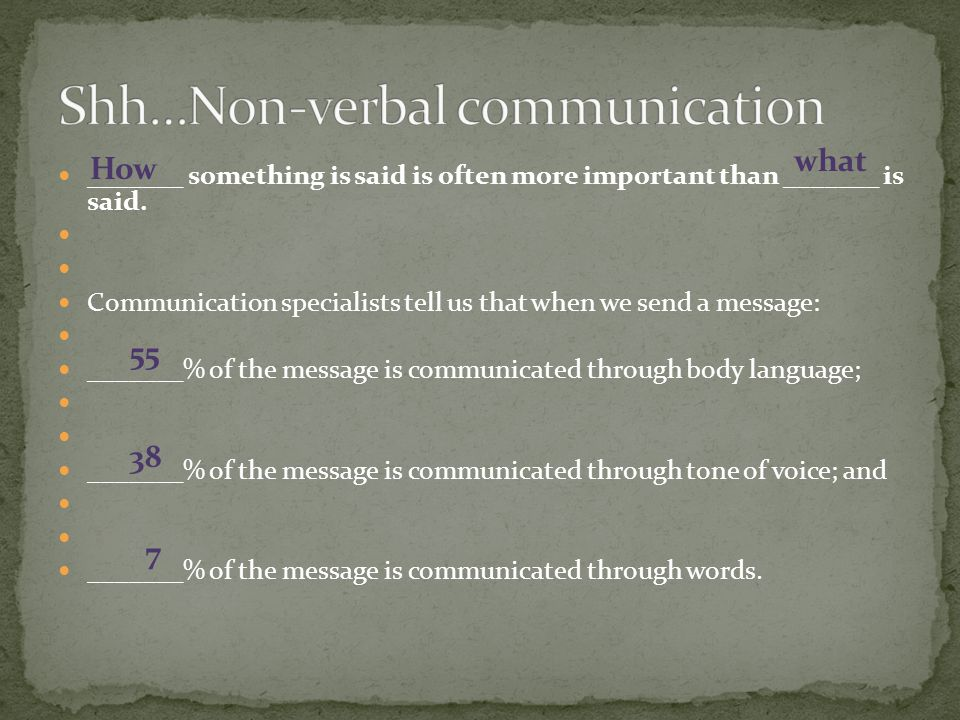 Shh…Non-verbal communication