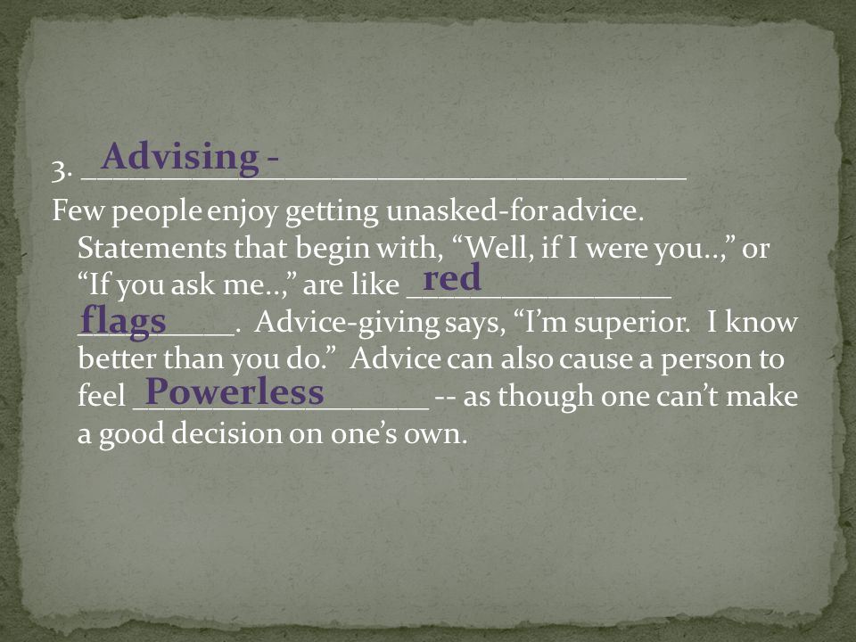 Advising - red flags Powerless