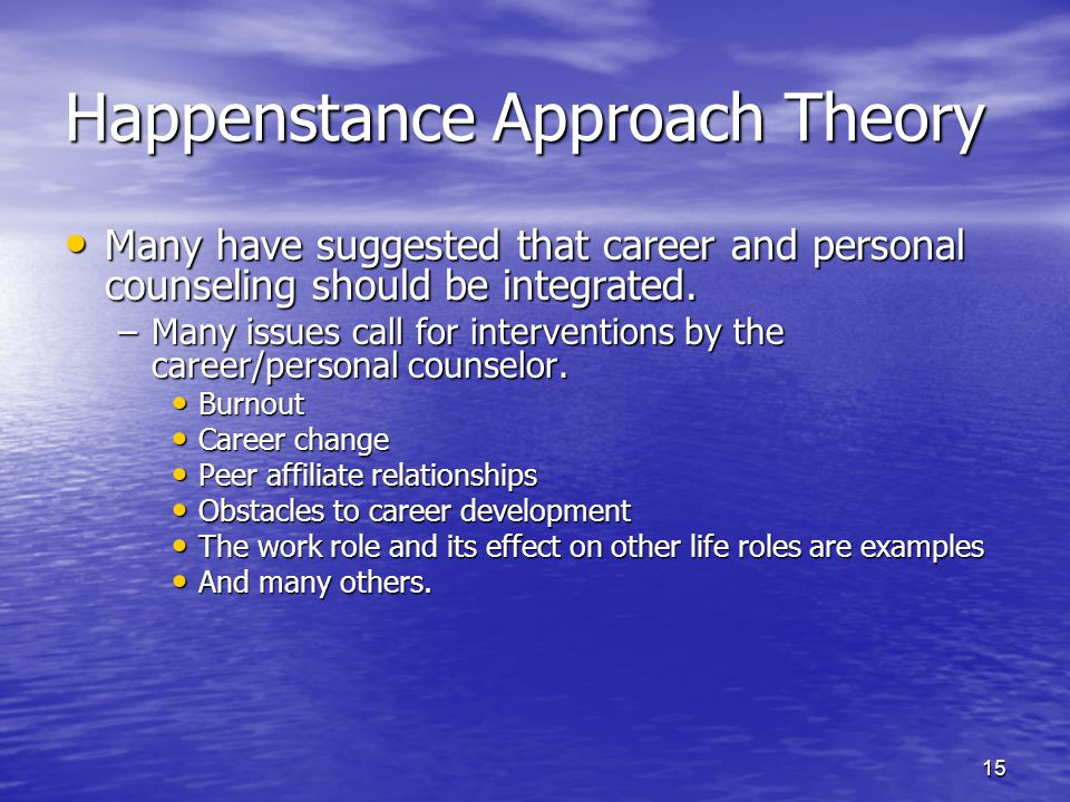 an introduction to the many theories of career development Theory of career development essays there are many ways to develop theories of career development mainly the ideas result from personal experience including but not.