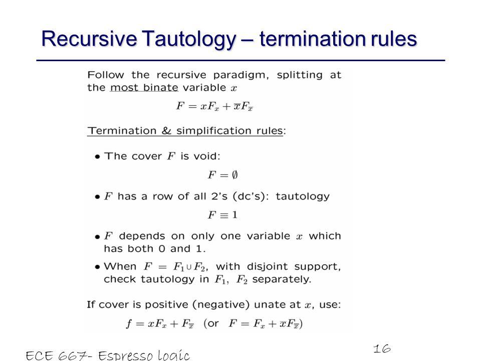 Recursive Tautology – termination rules