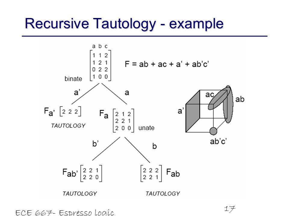 Recursive Tautology - example