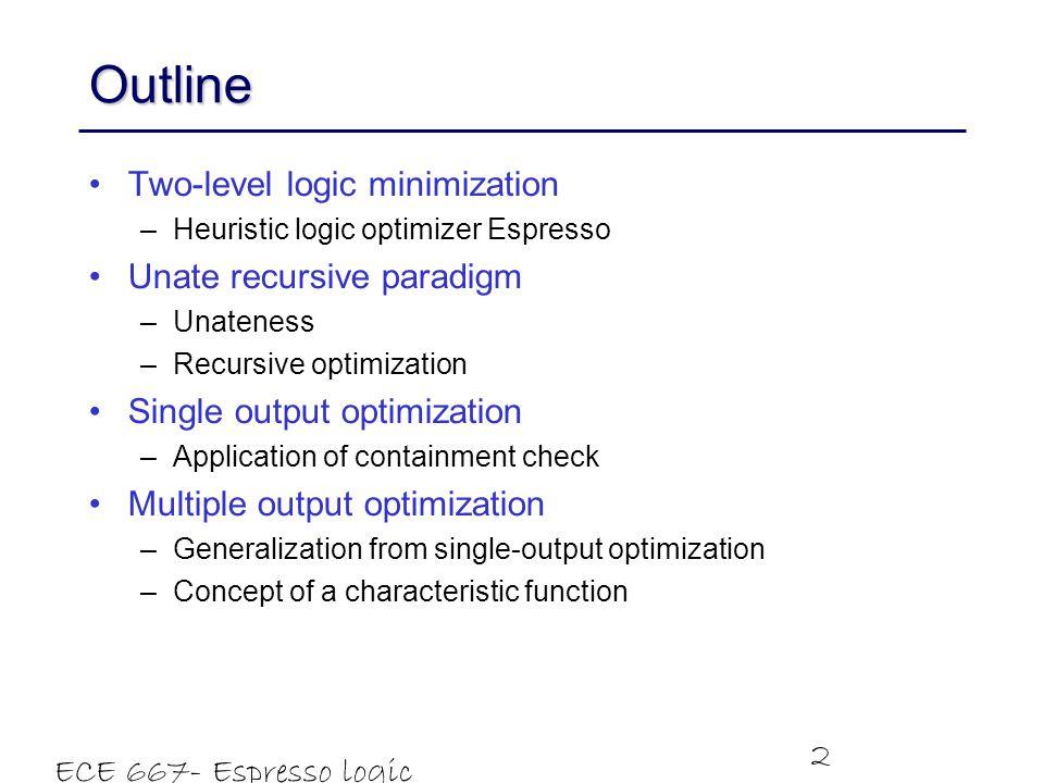 Outline Two-level logic minimization Unate recursive paradigm