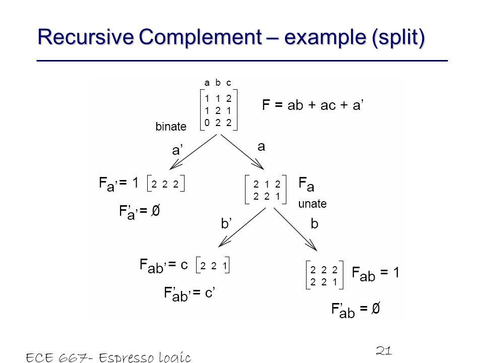 Recursive Complement – example (split)