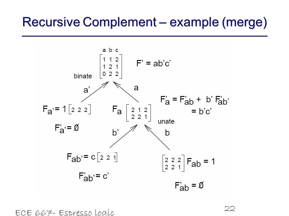 Recursive Complement – example (merge)