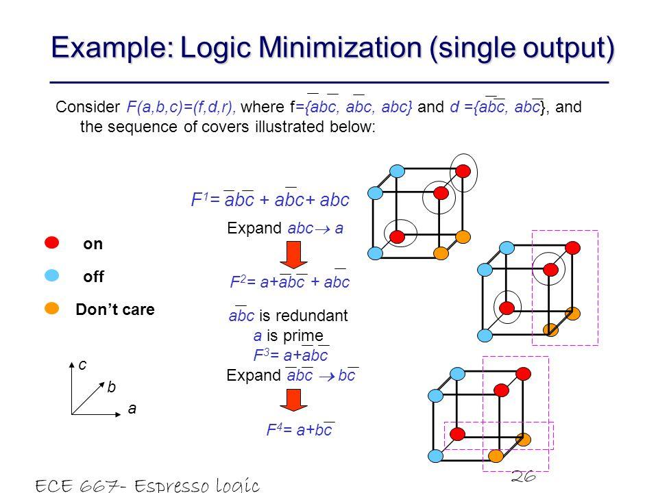 Example: Logic Minimization (single output)