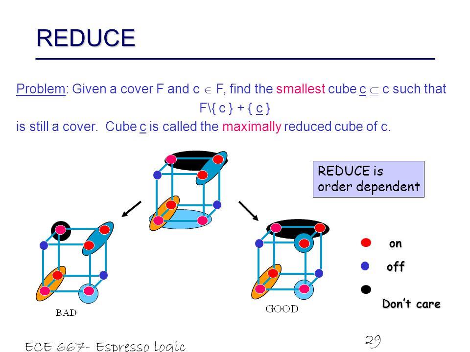 REDUCE ECE 667- Espresso logic minimizer