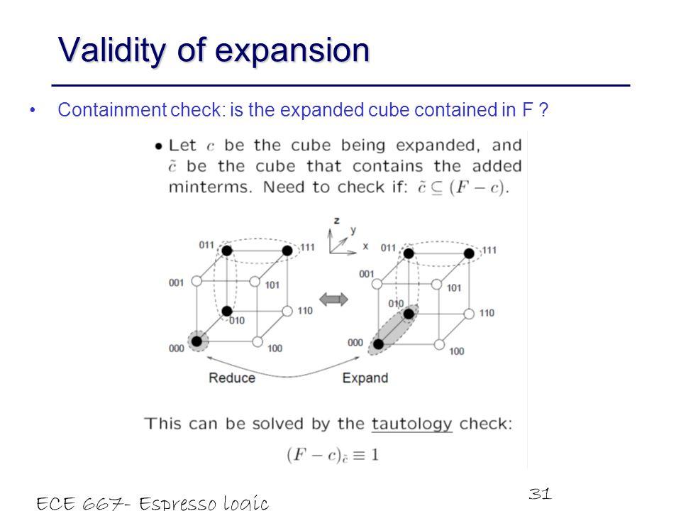 Validity of expansion ECE 667- Espresso logic minimizer