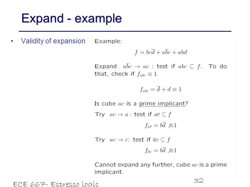 Expand - example ECE 667- Espresso logic minimizer