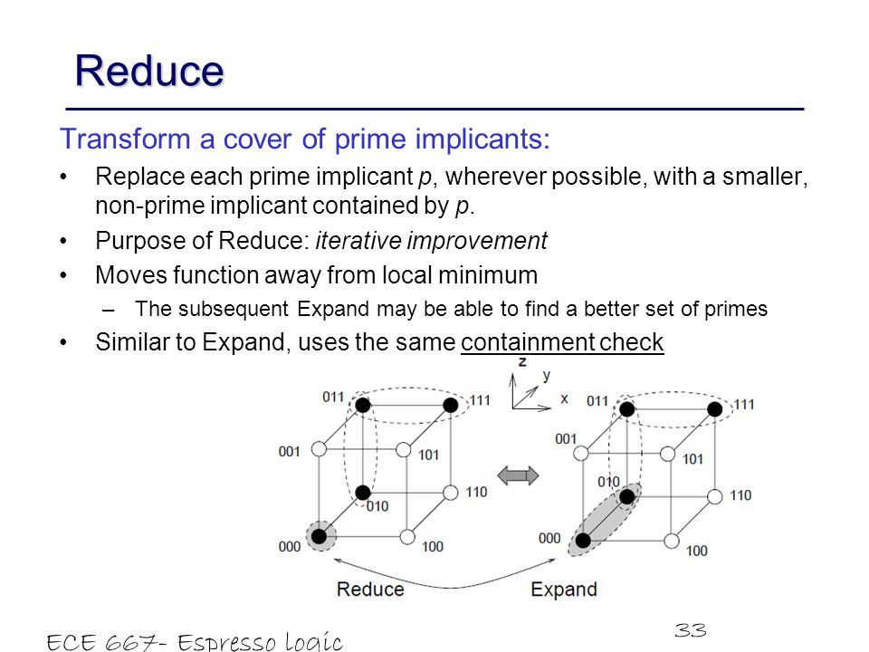 Reduce Transform a cover of prime implicants: