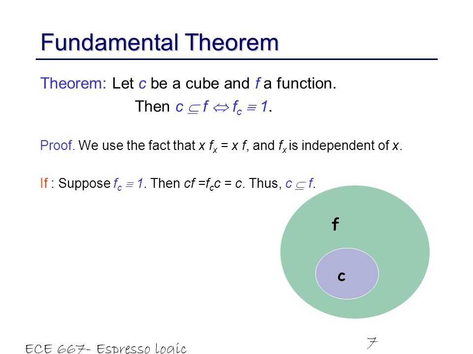 Fundamental Theorem Theorem: Let c be a cube and f a function.
