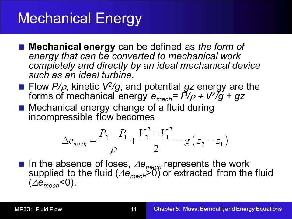 Chapter 5: Mass, Berno... Formula Of Mechanical Energy