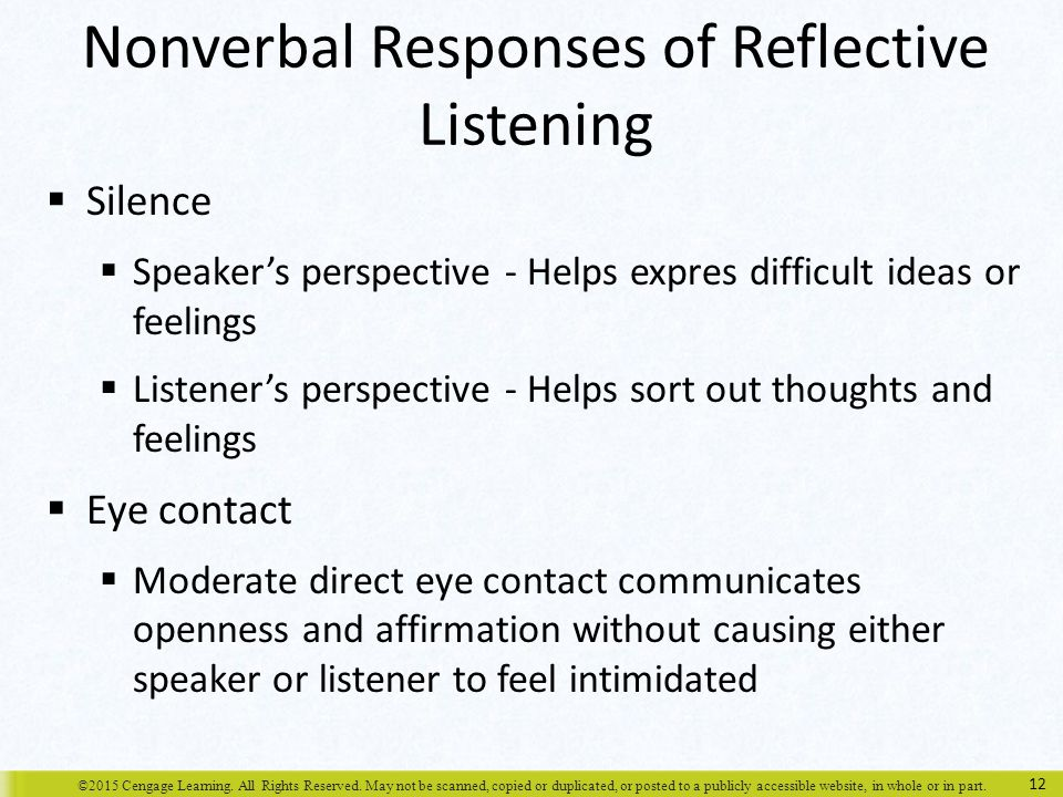 reflective nonverbal communication and john Understand the features of nonverbal communication and how it interacts with   while the process may be the same, high-stakes communications require more  planning, reflection, and skill than  someone else told john you were late.