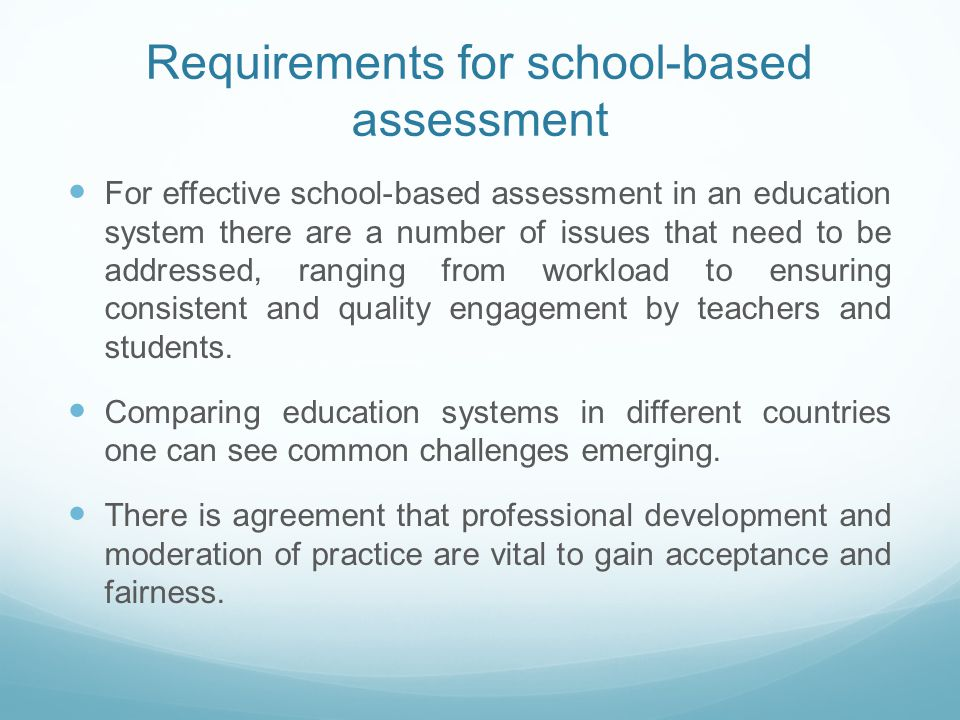 guidelines for submitting school based assessment for School-based assessment (sba) was first proposed in the reform proposals for the education system in hong kong in fact, the sba guidelines asked teachers to set their own time limits according to the needs of the students.