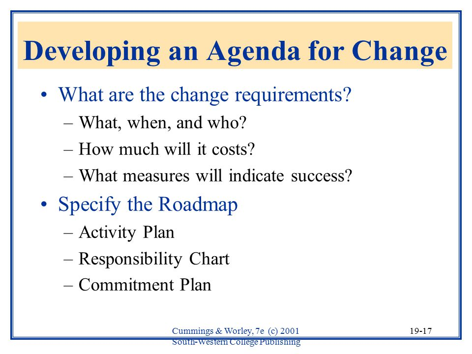 Developing an Agenda for Change