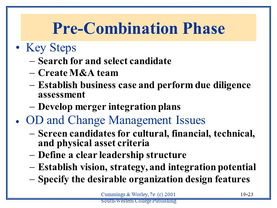 Pre-Combination Phase