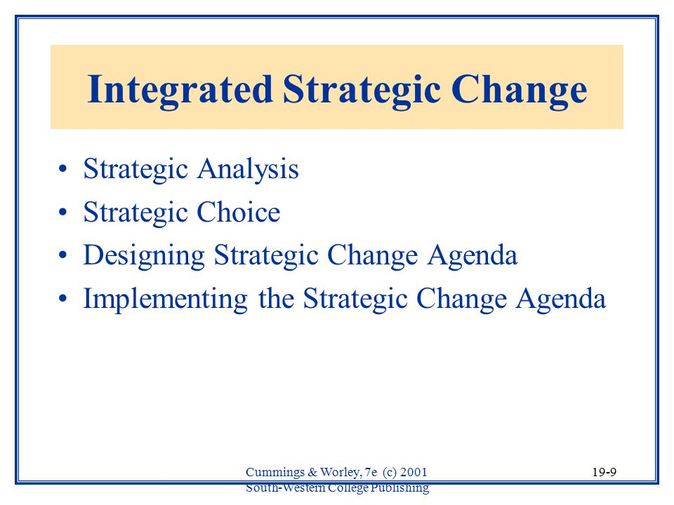 Integrated Strategic Change