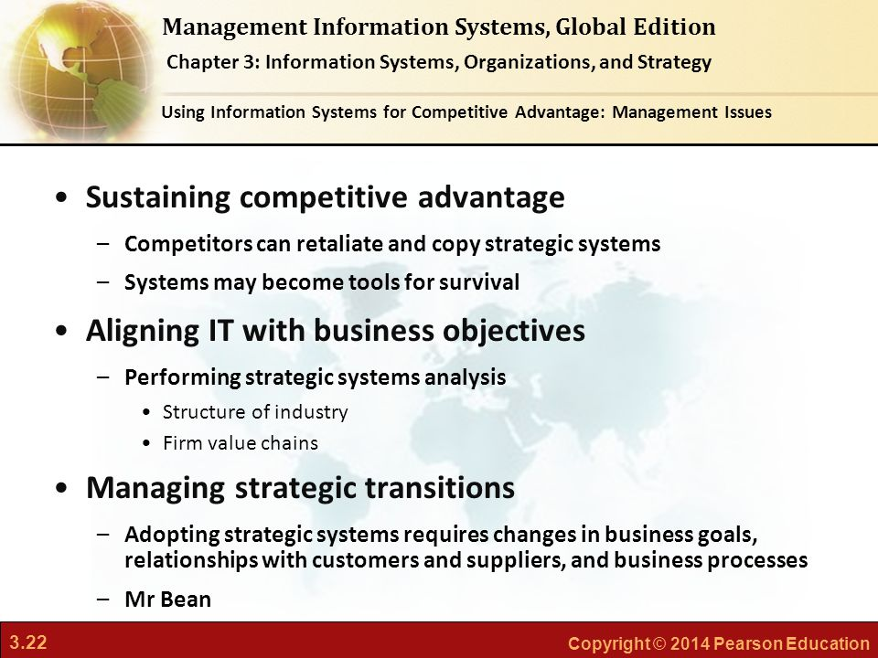 competitive advantage and strategic information system Competitive strategy: techniques for analyzing  advantage are not tied to  information systems, but are.