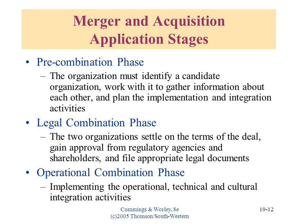 Merger and Acquisition Application Stages