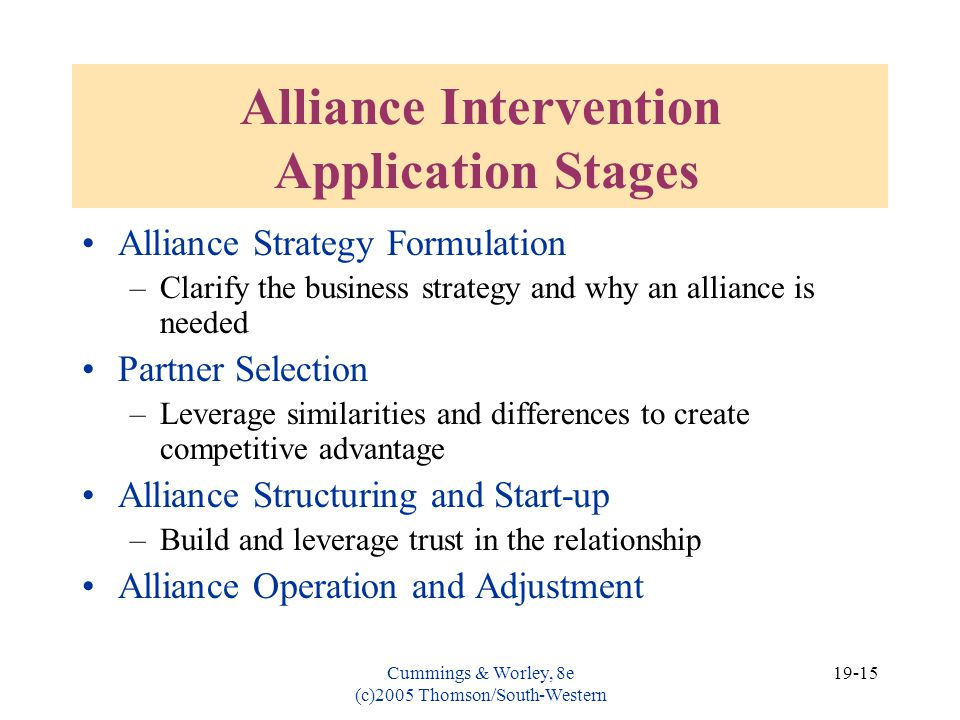 Alliance Intervention Application Stages
