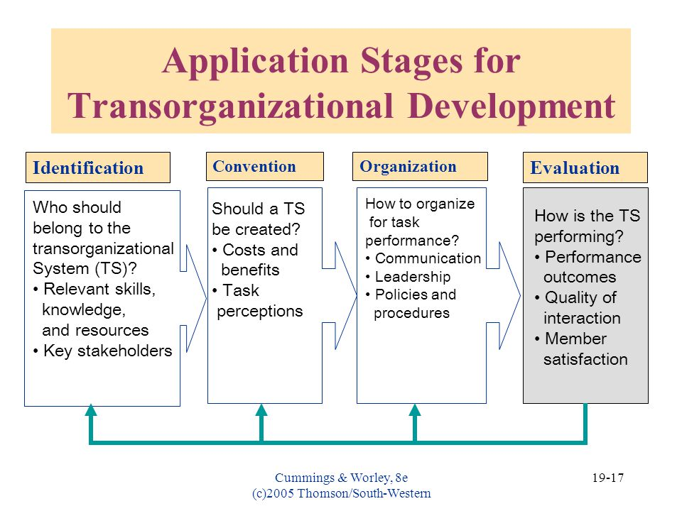 Application Stages for Transorganizational Development
