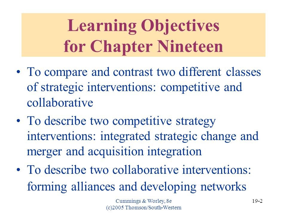 Learning Objectives for Chapter Nineteen