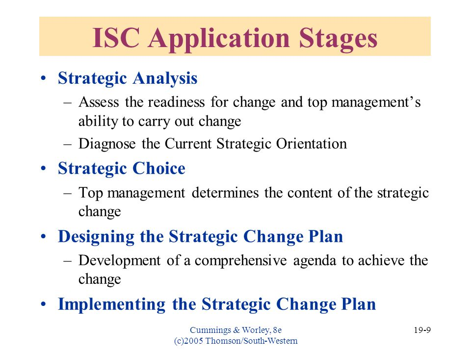 ISC Application Stages