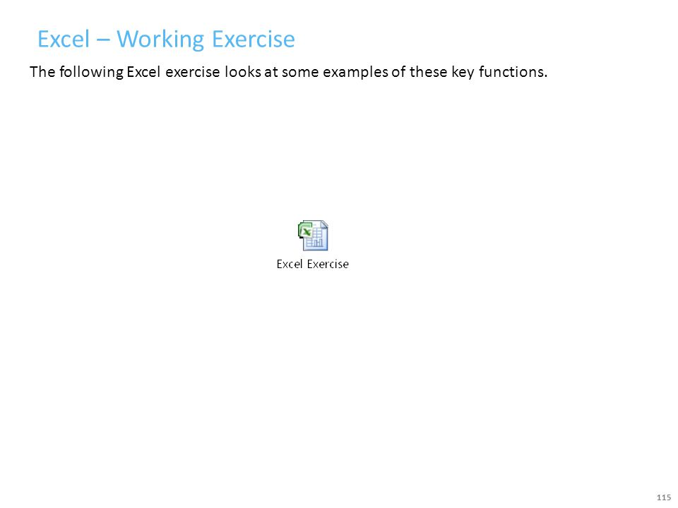 Excel – Working Exercise