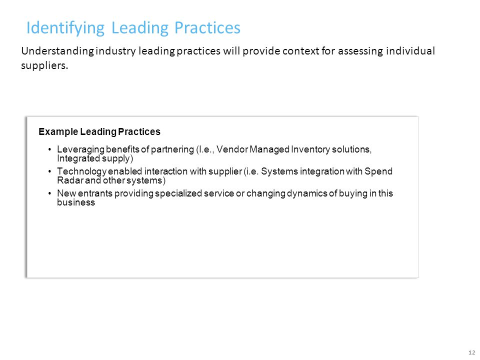 Identifying Leading Practices