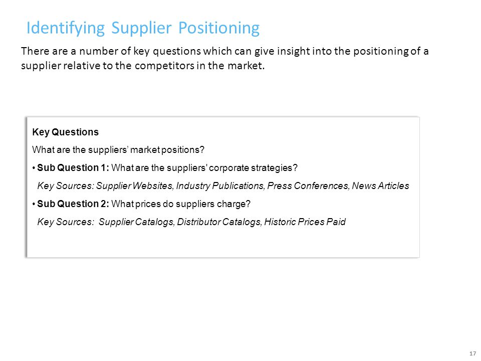 Identifying Supplier Positioning