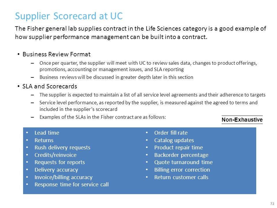 Supplier Scorecard at UC