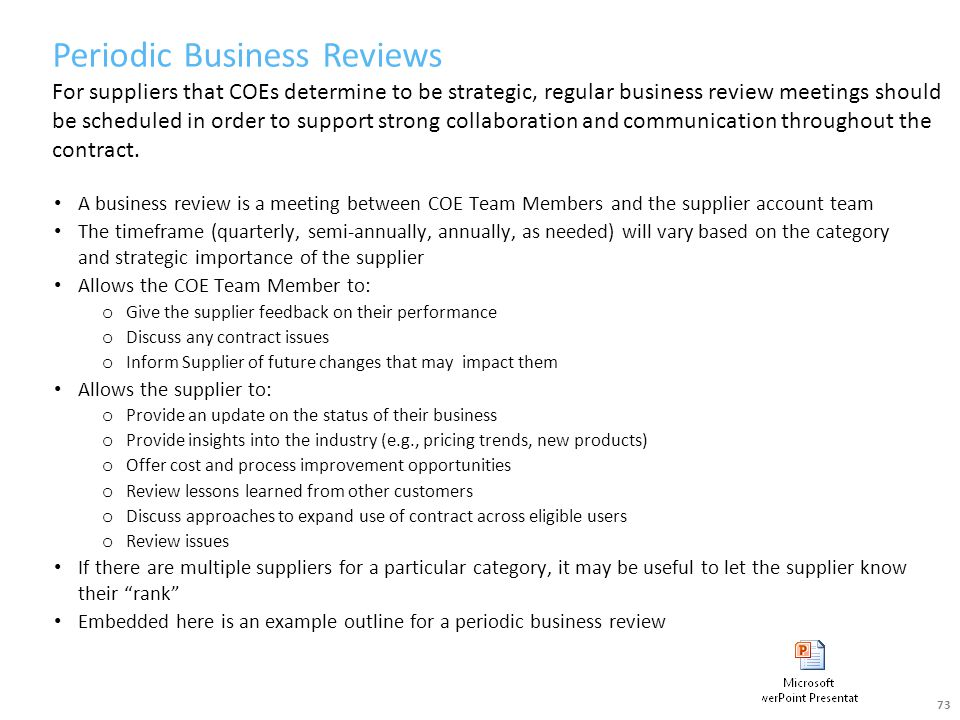 Periodic Business Reviews