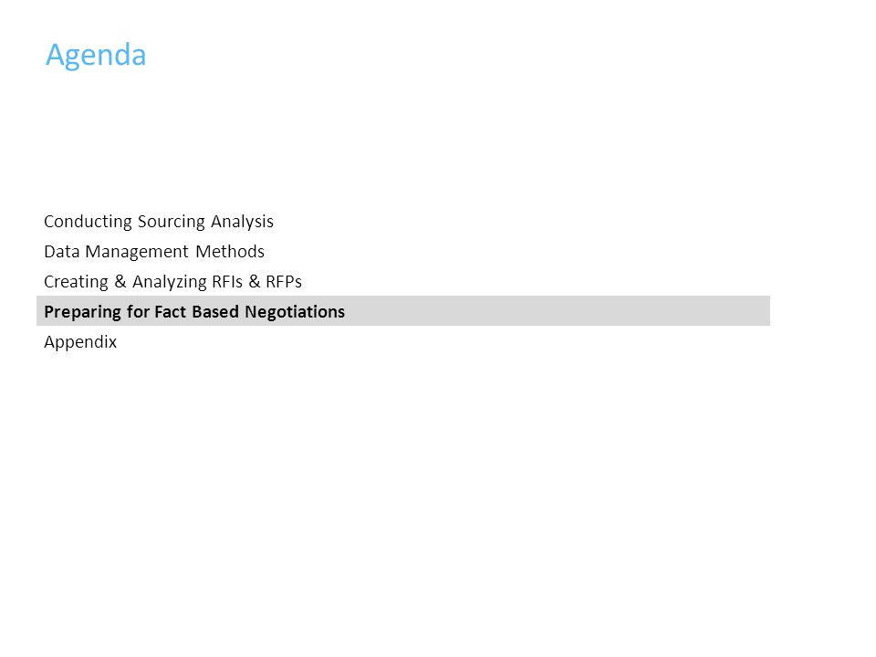 Agenda Conducting Sourcing Analysis Data Management Methods