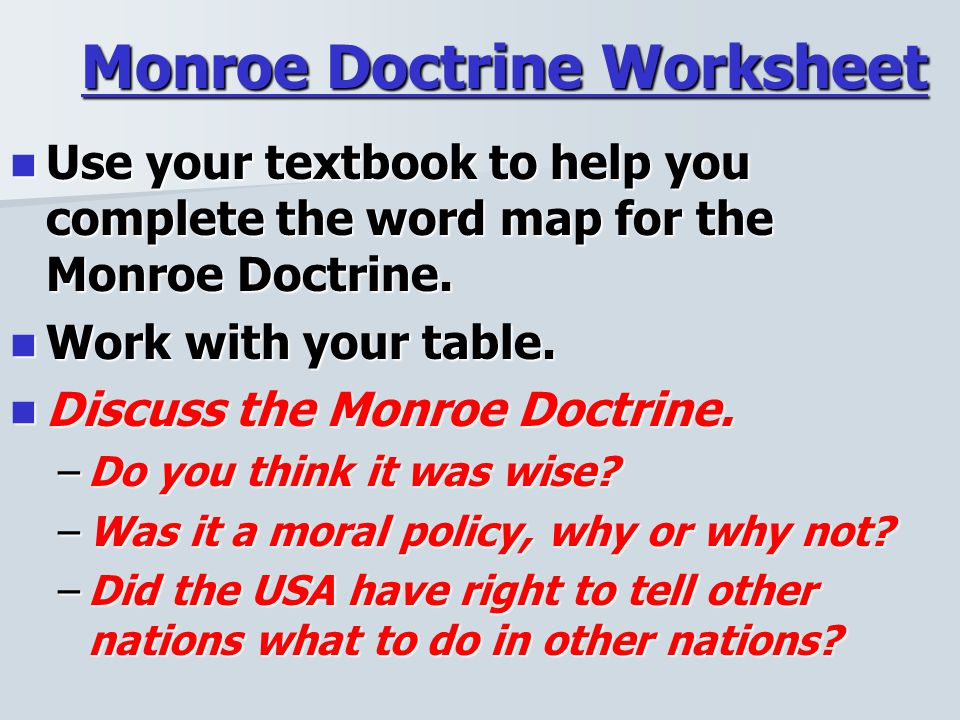 Warmup 2 What was the AdamsOnis Treaty and why was it important – Monroe Doctrine Worksheet