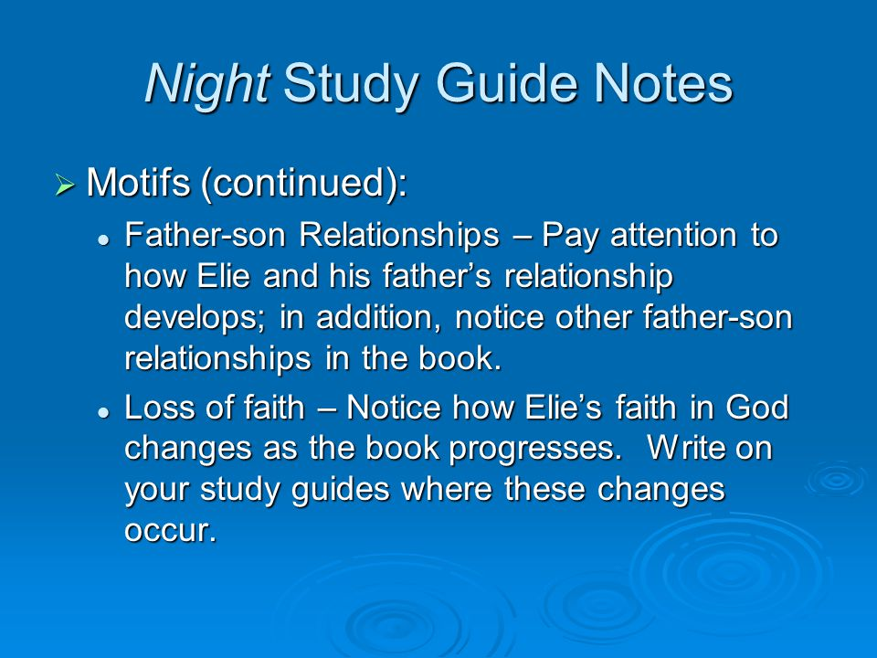 essay on father son relationship in night The changing relationship between father and son and putting the father-son relationship in perspective as the years progress  the connection between father and son.