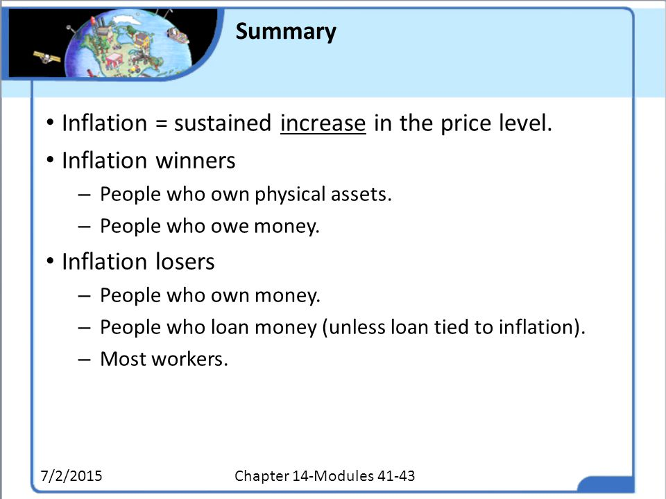 Inflation = sustained increase in the price level. Inflation winners