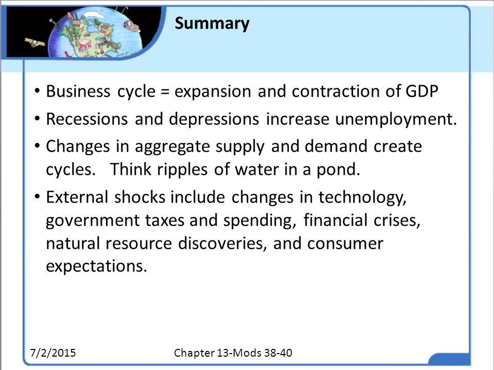 Business cycle = expansion and contraction of GDP