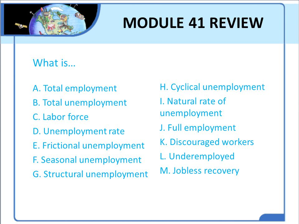 MODULE 41 REVIEW What is… A. Total employment B. Total unemployment