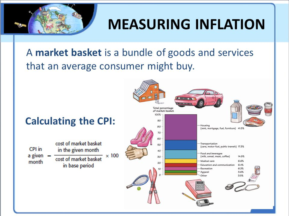 MEASURING INFLATION A market basket is a bundle of goods and services that an average consumer might buy.