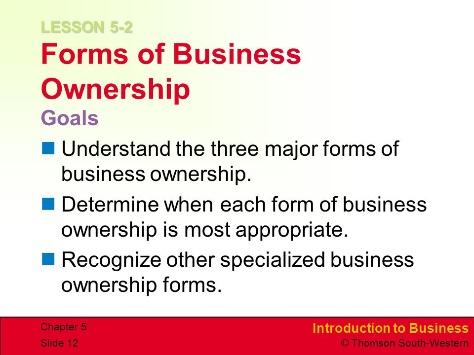lesson prepare types about industry ownership