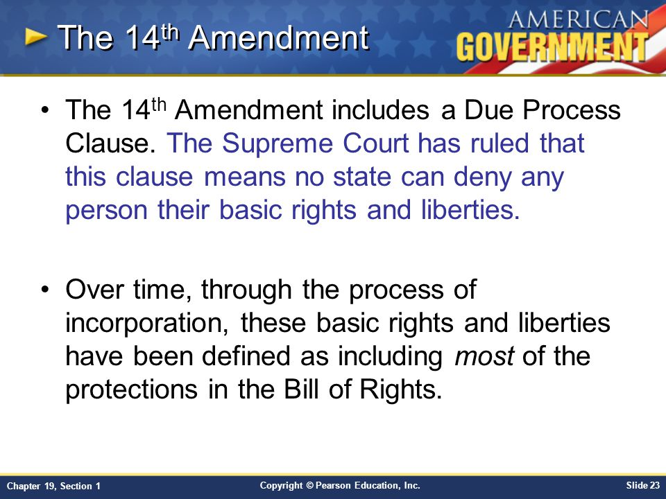 """the basic purposes of the fourteenth amendment The 14th amendment to the constitution was ratified on july 9, 1868, and granted citizenship to """"all persons born or naturalized in the united states,"""" which included former slaves recently freed in addition, it forbids states from denying any person life, liberty or property, without due ."""