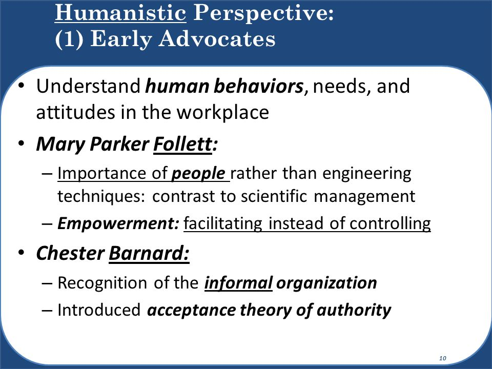 Humanistic Perspective: (1) Early Advocates