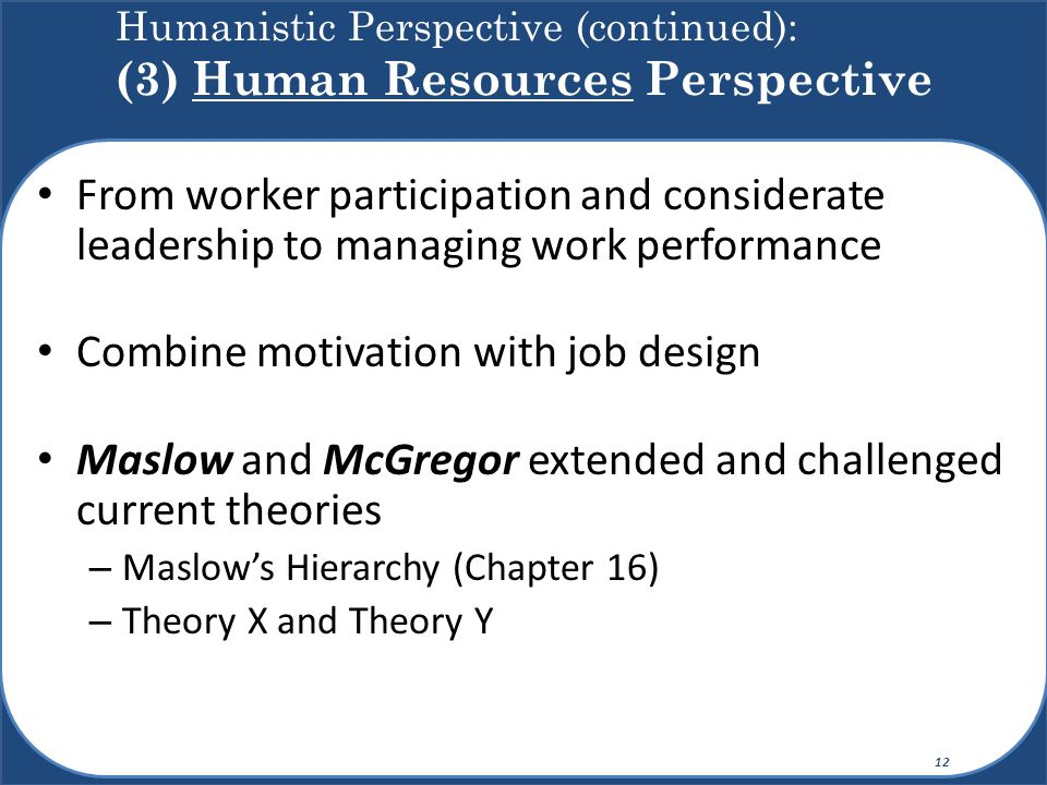 Humanistic Perspective (continued): (3) Human Resources Perspective