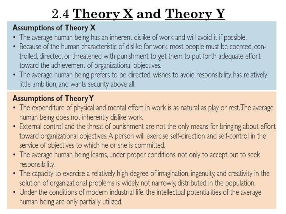 2.4 Theory X and Theory Y Theory Y was proposed as a more realistic view of workers, consisting of assumptions that: