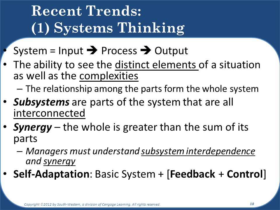 Recent Trends: (1) Systems Thinking