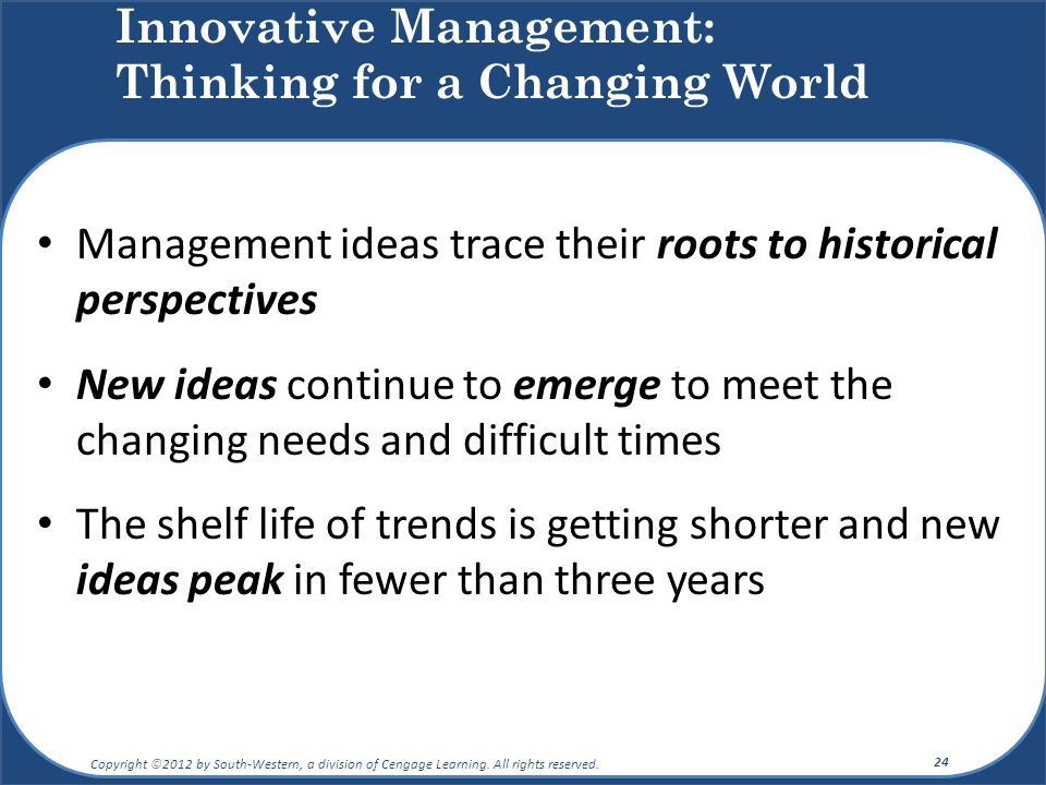 Innovative Management: Thinking for a Changing World