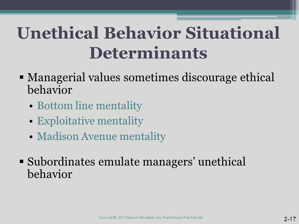 Unethical Behavior Situational Determinants