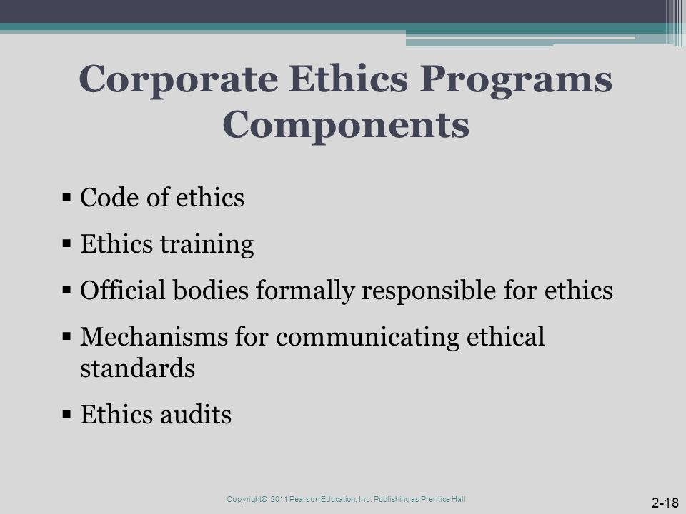 Corporate Ethics Programs Components