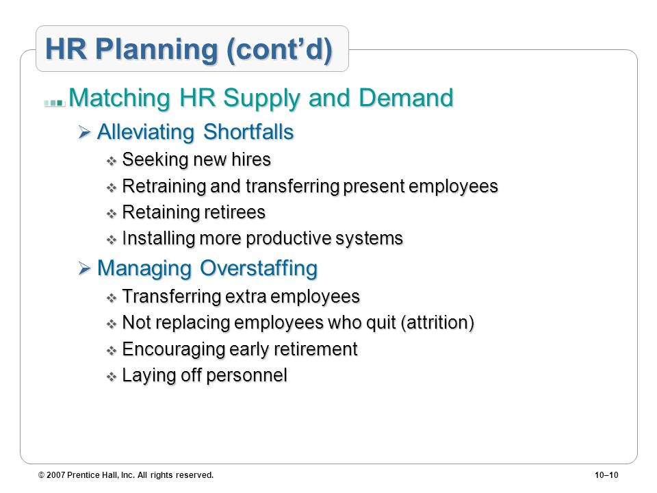 HR Planning (cont'd) Matching HR Supply and Demand